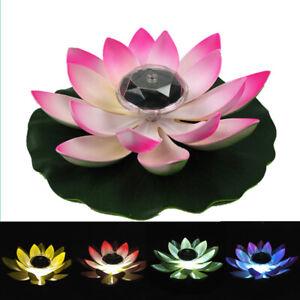 Floating Solar Powered LED Lotus Flower Light Pond Pool Garden Landscape Lamp UK
