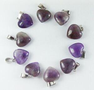 Ten Purple Natural Amethyst heart pendants bulk jewellery making crafts 16mm