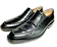 "Men's ECCO ""WINDSOR"" BLACK LEATHER LOAFER APRON TOE SIZE 44 EUR 10 - 10.5 US"