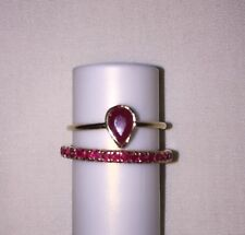 14k Yellow Gold Pear Shaped Ruby Solitaire & Full Ruby Band Wedding Set