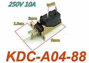 5Pcs Hi Quality 10A 250V AC SPST 2 Pins Push Button Power Switch KDC-A04-88 TUV