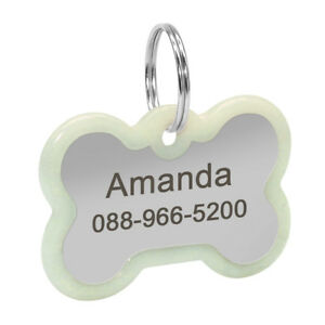 Fluorescent Personalized Dog Tags Pet Cat ID Collar Tag Engraved Bone Round Paw