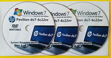 HP Pavilion dv7-6c22nr Factory Recovery Media 3-Discs Set / Windows 7 Home 64bit