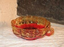 AMBERINA Bowl Beautiful item handles raised flower design Great color