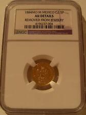 Mexico 1884 MO M Gold 2 1/2 Pesos NGC AU Details Mexico City Rare