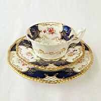 Coalport Batwing Trio Cup Saucer Plate Y2665 Cobalt and Gilt Antique