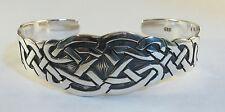 "925 sterling silver cuff bracelet Celtic knot design 7/8"" wide"