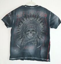 Affliction Mens Large Black Shirt Short Sleeve Distressed Graphic Indian Head