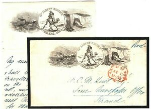 GB Advert Cover ALBERT SMITH Letter India OVERLAND MAIL 1854 London V.RARE A4G4