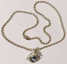 collier bijou couleur argent chaine pendentif dauphin perle bleu nacré * 3789