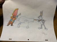 """Virgil Ross Sketch - Bugs Bunny And Yosemite Sam . Signed 12.5x10.5"""""""