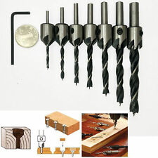 7Pcs 5 Flute Countersink Drill Bit Set 3mm-10mm HSS Reamer Woodworking Chamfer