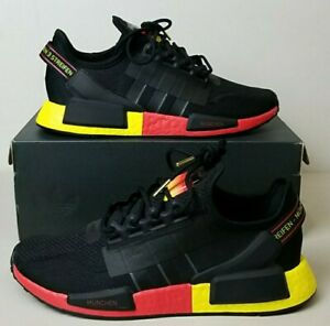 New Adidas NMD R1 V2 Boost Black Yellow Munich Shoes FY1161 Men's US Size 9