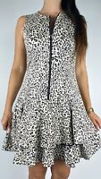 CUE Leopard Print Sleeveless Zip Front Cut Out Back Fit & Flare Dress Size AU 12