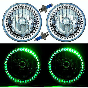 "7"" Halogen Green Sc LED Halo Ring Angel Eye Headlight Headlamp Light Bulb Pair"