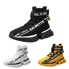 New Men's Women's Trainers Slip-on Knit Sock Running High top Sneaker Shoes