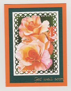 Blank Handmade Greeting Card ~ GET WELL SOON with BEAUTIFUL ROSES