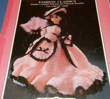 "Crochet Victorian Style 15"" Doll Dress Hat Pattern 'Lilly' Southern Belle"