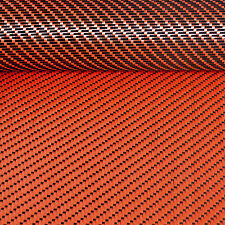 Reversible CARBON Fibre Cloth Oran KEVLAR Fabric Material 3x1 Twill 127cm x 28cm
