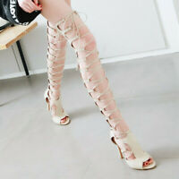 US12 Gladiator Ladies High Heels Peep Toe Strappy Sandals Over Knee Shoes Bt15