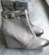 SIsley leather wedge ankle womens boots charcoal grey UK size 7/EU41