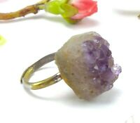 Vintage Raw Amethyst Rock Ring - Adjustable Size