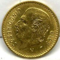 1919 Mexico Gold 5 Pesos KM #464