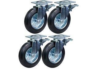200mm rubber wheels Waste bin castors, swivel braked 1100 litre 800kgs, set of 4