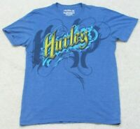 Hurley Blue Graphic Crewneck Tee T-Shirt Top Size Medium Man's Cotton Polyester