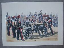 Affiche reproduction de dessin : mise en batterie de canons second empire