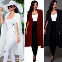 Womens Long Cloak Cape Coat Open Front Jacket Blazer Suit Shawl Poncho Outwear