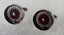 DESIGNER SILVER PLATED REAL ROULETTE WHEEL GAMBLERS CUFFLINKS MEN'S JEWELRY NWOT