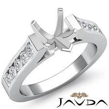 Round Channel Set Diamond Wedding Ring 14k White Gold Heart Semi Mount 0.3Ct