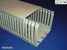 """8 New 4""""x3""""x2m Narrow Finger Open Slot Wiring Cable Raceway Duct Cover,PVC,Gray"""