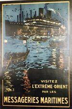 """""""MESSAGERIES MARITIMES"""" Affiche originale entoilée Litho LACHEVRE 1928 42x61cm"""