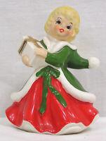 Vintage LEFTON Christmas Shopper Girl Figurine Red Dress Green Coat Holding Gift