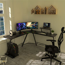 51 L Shaped Gaming Desk Home Office Desk Corner Table With Monitor Stand Black