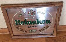 "Vintage Heineken Imported Dark Beer Wood Framed Mirror Sign Brytone-14 x 17"""