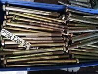 10 Sechskantschrauben mit Schaft DIN931 M12x200 gelb verzkt Rabatt Mehrfachkauf