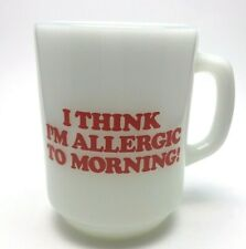 Vtg Peanuts Snoopy Fire King Coffee Mug Milk Glass Doghouse Allergic To Morning