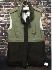 RAG & BONE NEW YORK Kinsley Army Green Utility Vest HOODIE Jacket - Women 10 NWT