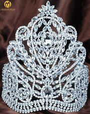 "Large 9"" Tiara Crown AB Crystal Wedding Headpiece Rhinestone Beauty Pageant Prom"