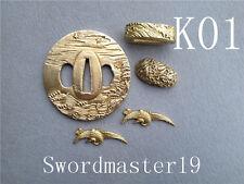 I Set Brass koshirae Tsuba Fuchi Kashira Menuki Japanese Katana Wakizashi Sword