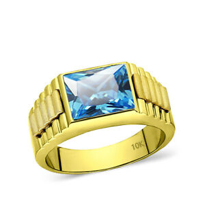 NEW Solid 10k Yellow Gold Mens Modern Band Ring with Topaz Gemstone 5 to 15 Size