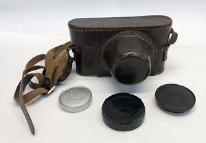 vintage LEICA Leitz Wetzlar Leather Camera Case w/ Lens Covers Caps GERMANY
