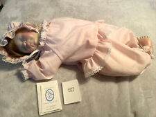 """New listing Lee Middleton 1983 """"First Moments"""" Sleeping Baby Doll Girl Outfit Signed W/Coa"""