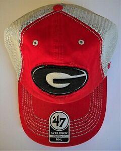 GEORGIA BULLDOGS ADULT MEDIUM-LARGE 1-FIT LOW-PROFILE HAT CAP W/ G, TAN MESHBACK