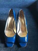 ESCADA Blue Patent Leather Open toe Heels, Size 9