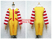 Ronald McDonald Cosplay Costume Outfit Jumpsuit Gloves Leg Warmer
