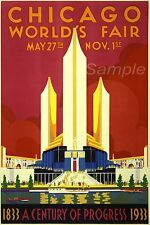 VINTAGE 1933 CHICAGO WORLDS FAIR TRAVEL A3 POSTER PRINT